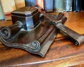 vintage office ...   S K Co 1910 Stunning Arts and Crafts INKWELL  BRONZE with LETTER Opener Inkbottle Desk Caddy  ink well ...