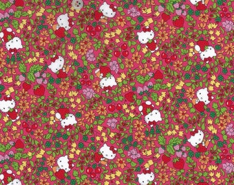 hello kitty x liberty art fabric  2013 - Last series - best selection - strawberry field - pinkish/red - fat quarter