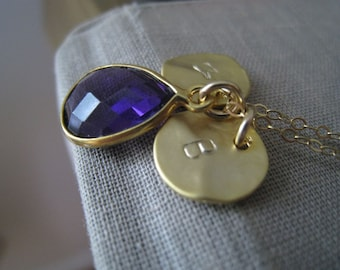 February birthstone necklace with two initial, purple amethyst bezel pendant necklace, personalized jewelry