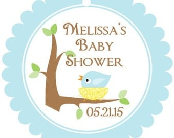 Baby Shower Favor Tags - Sweet Birds Baby Shower Favor Tags, Pink Birds, Blue Birds, Your choice of colors