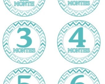 Baby Month to Month Stickers, Monthly Birthday Stickers for Baby, Photo Prop Birthday Stickers, Blue Chevron