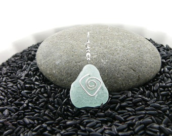Medium Sized Aqua Sea Glass Pendant with a Sterling Silver Swirl