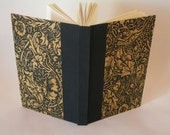 Blank book journal unlined -black and mustard English Garden (6x9in.) - Ready to ship