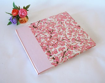 Guest book unlined pink plum chiyogami - 8x9in 20x23cm - Ready to ship