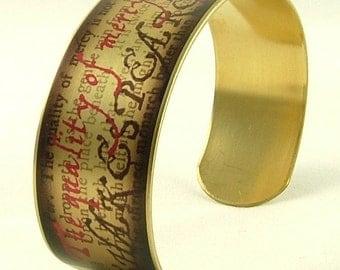 Portia's Quality Of Mercy Speech - The Merchant of Venice - Literary Art Brass Cuff Bracelet Bangle