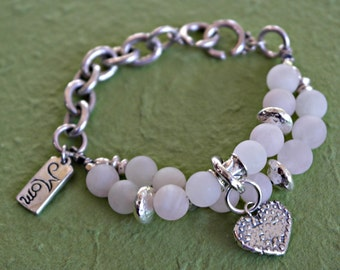 Custom designed bracelet Rose quartz light pink sterling silver MOM Charm