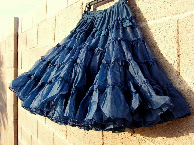 vintage navy blue crinoline petticoat skirt