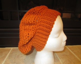 Burnt Orange Crochet Slouchy Beret