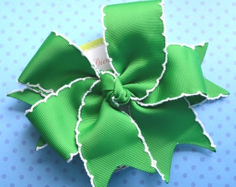 Kelly Green with White Crochet Edge XL Diva Bow
