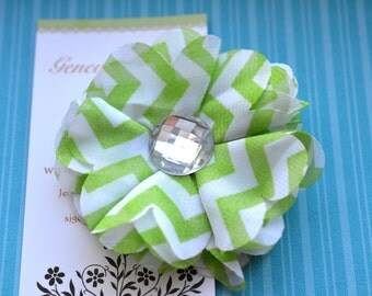 Chevron Chiffon Flower Hairclip in Lime and White