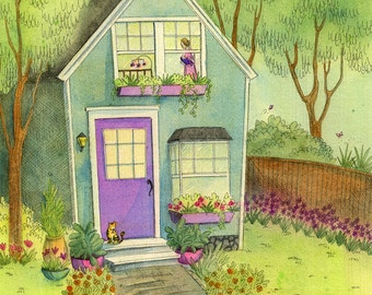 Original 8x10 Painting -- Sleepy little house in the garden