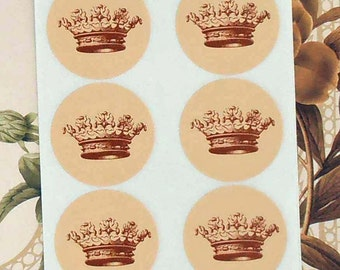 Crown Stickers Envelope Seals Wedding Party Favor Treat Bag Stickers Royalty SP012