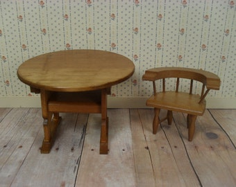 Vintage Shackman Wooden Dollhouse Furniture - Tilt Top Table and Captain's Chair - Small One Inch Scale