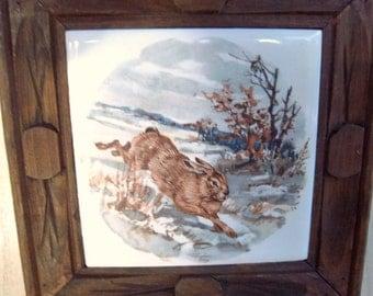 Vintage Ceramic Tile Woodland Rabbit/Framed Wallhanging