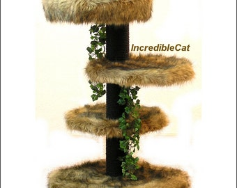 SENIOR CAT TREE 3' High Glenwood, Best Cat Bed, Designer Cat Tree, Elegant Cat Condo, Unique Cat Furniture, Kitty Senior Tree 3F1B2L