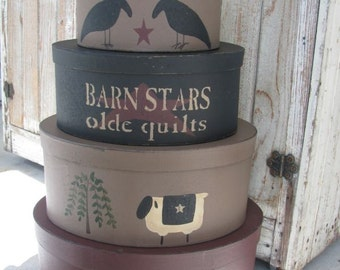 Primitive Set of 5 Oval Stacking Boxes Primitives Theme with Barn Stars Olde Quilts Crows Sheep and Stars Hand Painted GCC4777