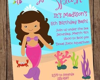 African American Mermaid Birthday Invitations - 1.00 each with envelope