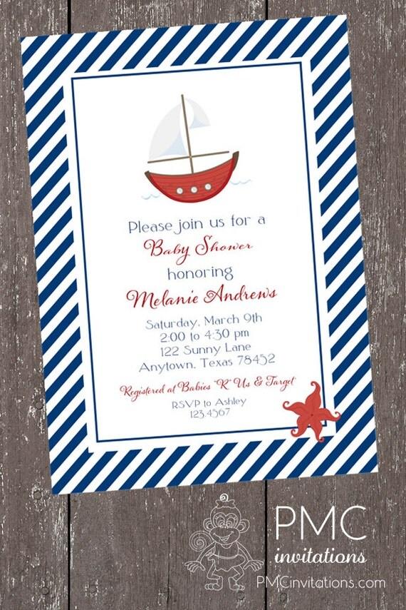 NAUTICAL MONKEY BABY SHOWER INVITATIONS   baby shower nautical