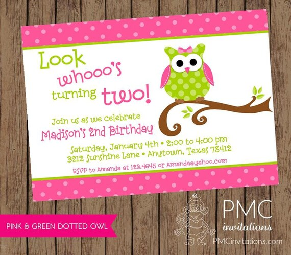 Cute Owl birthday party invitation 100 each with envelope by