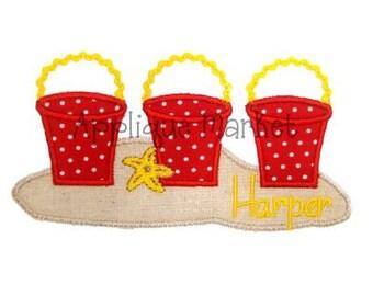Machine Embroidery Design Applique Beach Bucket Trio INSTANT DOWNLOAD