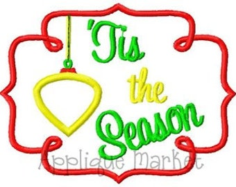 Machine Embroidery Design Applique Tis the Season Frame INSTANT DOWNLOAD