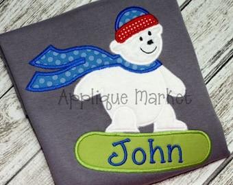 Machine Embroidery Design Applique Snowboard Bear INSTANT DOWNLOAD