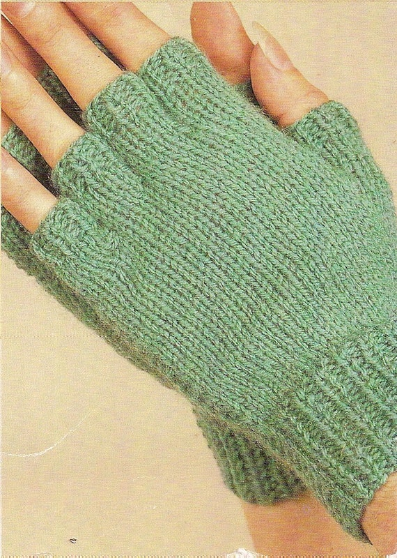 Knitting Pattern Fingerless Mittens Two Needles : Fingerless Mittens Vintage Knitting Pattern 388 by knittedcouture