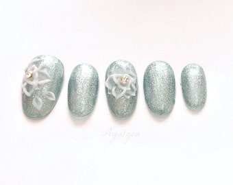 Bridal nails, wedding, oval nails, acrylic nails, 3D nails, green gray glitter with white 3D rose set