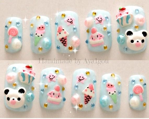 Like this item? - Kawaii Nails Kuma 3D Nails Japanese Nail Art Summer