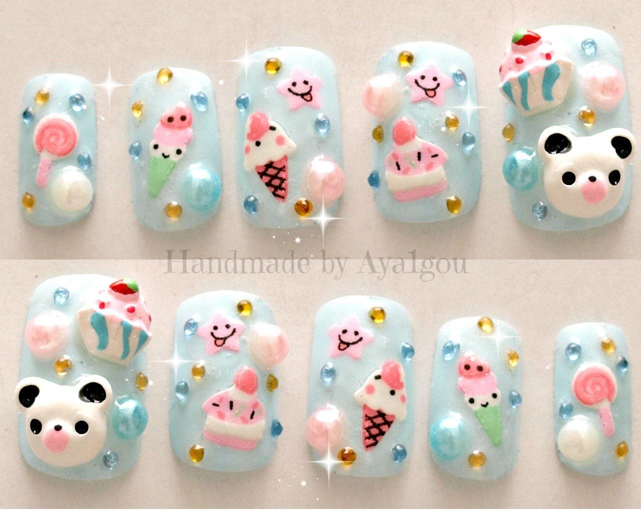 3d Cake Nail Art : Kawaii nails kuma 3D nails Japanese nail art summer