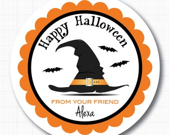 Witch Hat Personalized Halloween Stickers, Labels or Tags