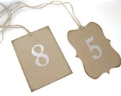 Wedding Table Numbers - 1 - 20 - pick letter color and card shape- wedding ceremony, wedding decor, rustic wedding, woodland wedding, autumn