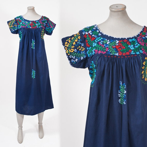 1970's Blue Mexican Dress Hand Embroidered Vintage Ethnic Boho Hippie Shift