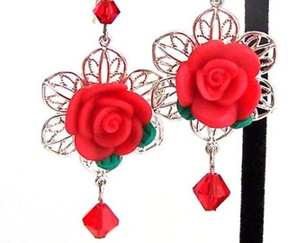 Red rose earrings, Mother's day gift for her, filigree flower earrings, red polymer clay and crystal earrings, red flower earrings
