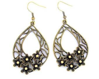 Antiqued bronze floral earrings, statement teardrop earrings