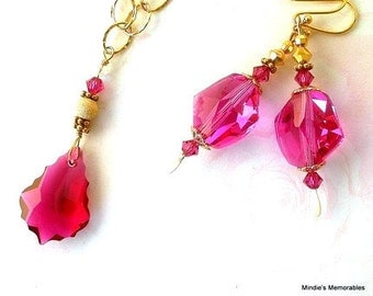 Fuchsia crystal necklace and earrings, gold filled chain, Swarovski crystal cosmic crystal, baroque style, special birthday gift for her