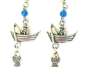 Fishing earrings, love to fish earrings, antiqued silver