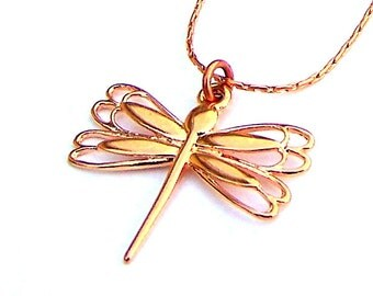 Rose gold dragonfly necklace, bright copper dragonfly necklace
