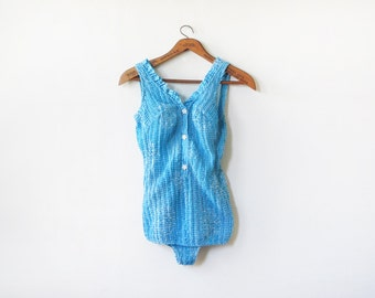 60s swimsuit, vintage 1960s blue swimsuit, cotton bathing suit, one piece swimsuit, small s
