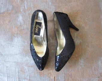 black sequin pumps, vintage 80s black sequin high heels, size 7 shoes