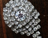 Vintage Dress Clip Musi Dress or Shoe Clip Prong Set Faceted Clear Rhinestones Great bridal Brooch