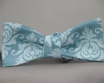 Aqua Damask on Aqua  Bow tie