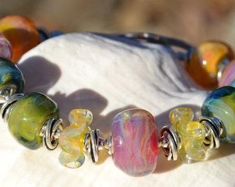 SUBTLE BEAUTY-Handmade Lampwork and Sterling Silver Bracelet