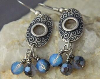 White Opal and Sky Blue Crystal Earrings