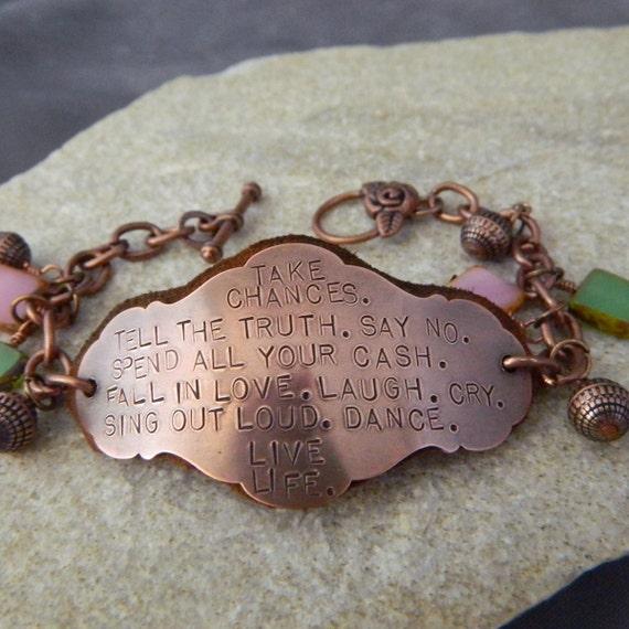 Live Life Copper and Suede Handstamped Bracelet