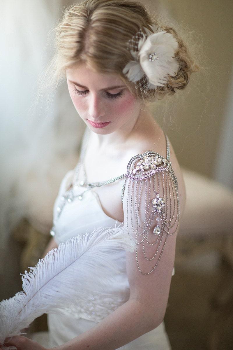 Bridal shoulder jewelry wedding crystal epaulettes wedding for Bracelet for wedding dress