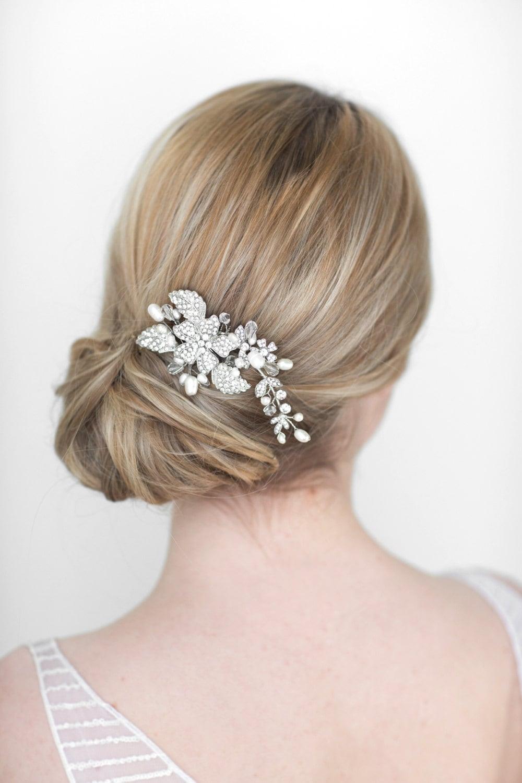 wedding hair comb bridal head piece crystal and pearl hair