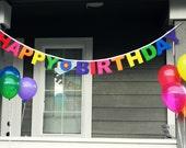 Happy Birthday Banner - Rainbow Colors