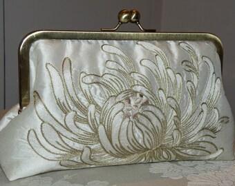 Clutch/Purse/Bag..Long Island Wedding/Bridesmaid Gift..Embroidered Chrysanthemum on Ivory Silk..Something Bridal Blue Lining..Free Monogram
