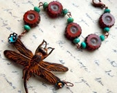 Autumn dragonfly bracelet, orange patina and glass flower beads, fall jewelry